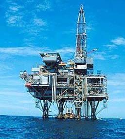 Off shore oil drilling rig